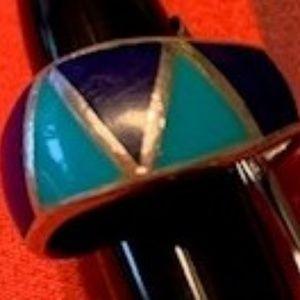 Sterling Silver Turquoise & Lapis Lazuli Ring